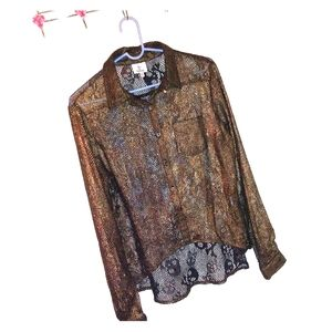 Jrs button-up skull lace top, size M